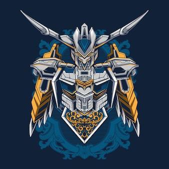 Gundam bael dettaglio illustrazione per tshirt sfondo