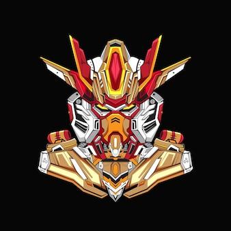Gundam design robotico di base del costume con uno stile moderno di concetto di illustrazione per l'emblema di budget premium