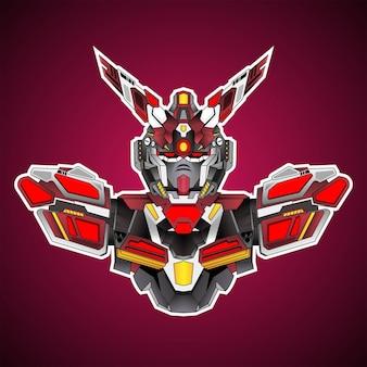 Gundam progettazione robotica di base del costume con stile moderno di concetto dell'illustrazione per l'emblema di budge