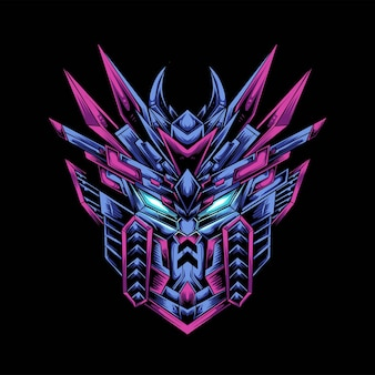 Gundam testa mascotte logo design con illustrazione moderna