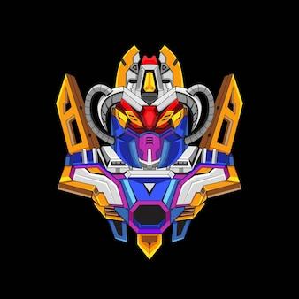 Design del logo della mascotte robotica gundam con uno stile di illustrazione moderno per il premio dell'emblema del budget bud