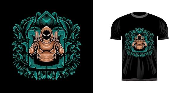 Illustrazione di mitragliere per il design della maglietta