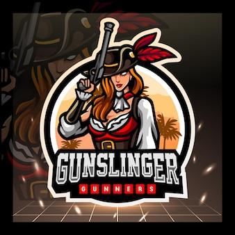 Mascotte pistolero esport logo design