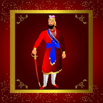 Guru gobind singh festa di compleanno con illustrazione creativa e sfondo