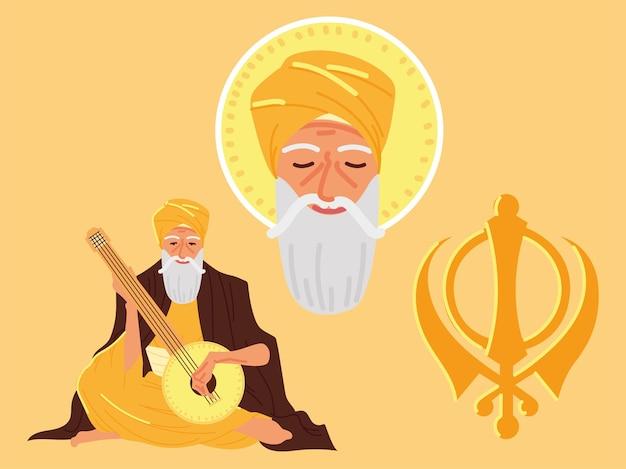 Icone del viso di guru nanak jayanti