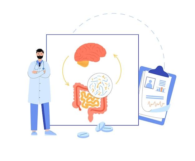 Collegamento del cervello dell'intestino, microbioma umano. ambulatorio di gastroenterologia. sistema nervoso enterico