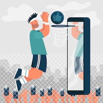 Un ragazzo, un giocatore di basket, lancia una palla sul ring e tutti lo fotografano blogger sportivo