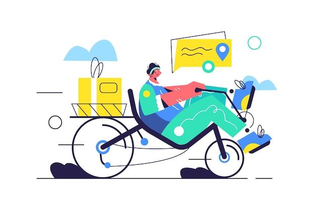 Guy trasporta merci su cyclette reclinata, scatola con merci isolate su sfondo bianco, illustrazione piatta