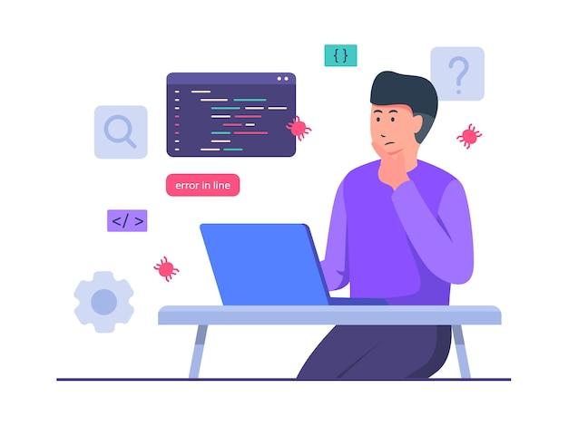 Il lavoro di pensiero del personaggio dello sviluppatore del tipo sul computer portatile crea il codice di debug con stile cartoon piatto