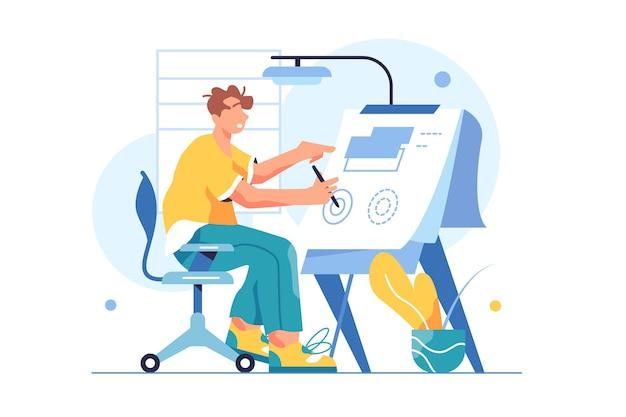 Guy ingegnere si siede su una sedia e disegna un progetto su una lavagna