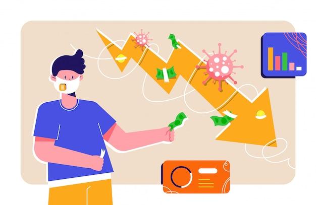 Guy in maschera respiratore viso cercando di fissare il suo budget durante il blocco della pandemia covid-19. grafico a barre e linea di tendenza che scende con monete, banconote e cerotti. impatto del coronavirus sull'economia globale.