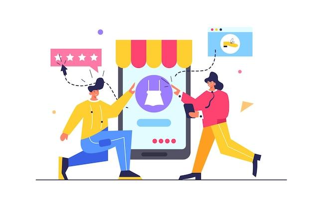Ragazzo e ragazza che scelgono il prodotto nel negozio di telefonia mobile sul grande telefono cellulare isolato su sfondo bianco, illustrazione piatta