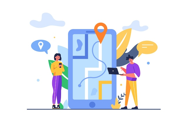 Ragazzo e ragazza in cerca di percorsi sulla mappa attraverso il grande telefono isolato su sfondo bianco