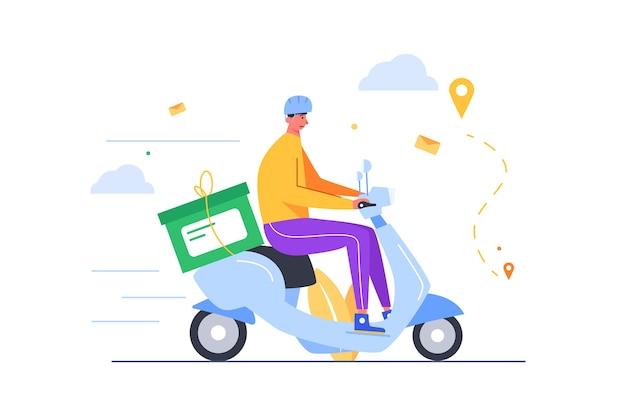 Ragazzo in casco offrendo riparazione aziendale in una scatola su uno scooter elettrico in fondo alla strada isolata su sfondo bianco, piatto