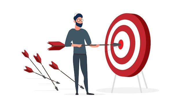 Il ragazzo sta tenendo una freccia. la freccia colpisce il bersaglio. il concetto di business di successo, lavoro di squadra e raggiungimento degli obiettivi. isolato. vettore.