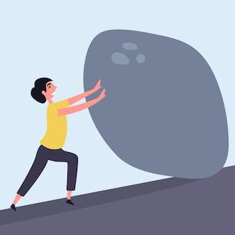 Il ragazzo fa ogni sforzo per spostare la cima di pietra pesante metafora molto forza di volontà combatti te stesso