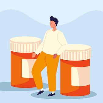 Bottiglie di medicinali per ragazzo