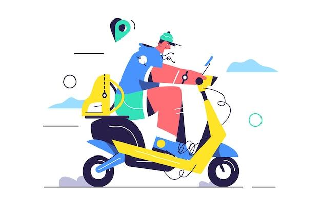 Guy cavalca uno scooter elettrico in un berretto per strada, zaino isolato su sfondo bianco, illustrazione piatta