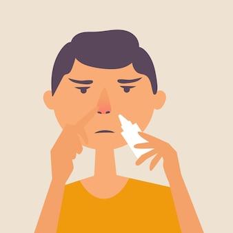 Un ragazzo con il naso che cola