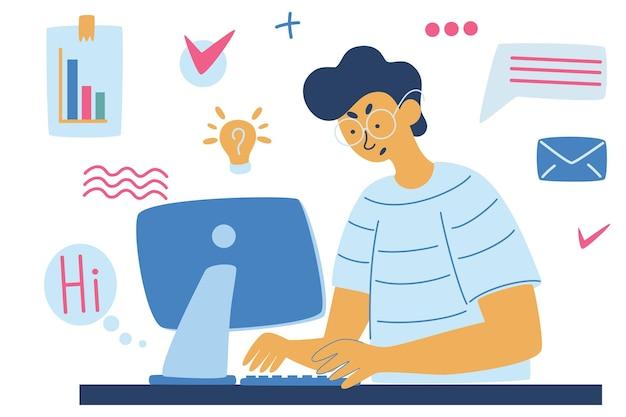 Ragazzo che lavora al computer, affari, ufficio, programmatore. il processo lavorativo. progetto aziendale o concetto di avvio. multitasking. illustrazione vettoriale in stile cartone animato