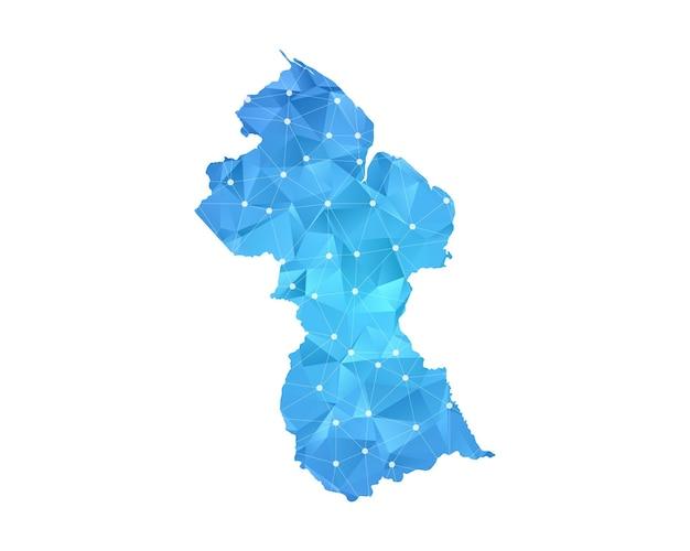 La linea mappa della guyana punti geometrici astratti poligonali.