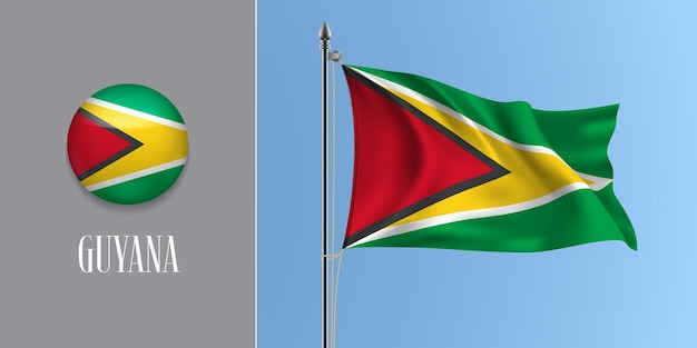 Guyana sventola bandiera sul pennone e icona rotonda illustrazione vettoriale. mockup 3d realistico con design di bandiera e pulsante cerchio Vettore Premium