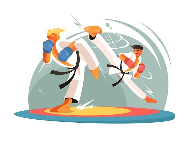 Ragazzi che combattono il karate per l'allenamento. il ragazzo colpisce il piede. illustrazione