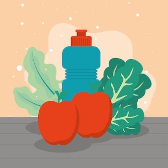 Borraccia da palestra e verdura