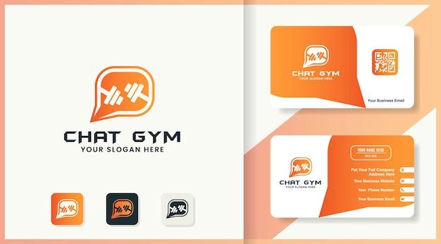 Design del logo della chat in palestra e design del biglietto da visita