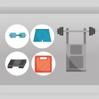 Le icone dell'attrezzatura della palestra hanno messo la pressa da banco con la scala degli abiti sportivi del bilanciere del peso nell'illustrazione di vettore di stile piano