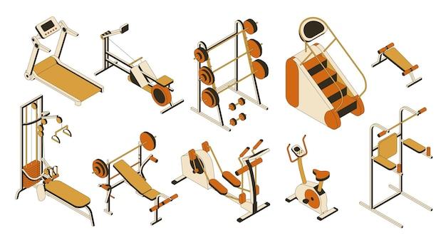 Collezione di attrezzature per palestra e fitness club. insieme isometrico di apparati di allenamento