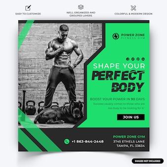Palestra e fitness instagram post vettore modello banner web vettore premium
