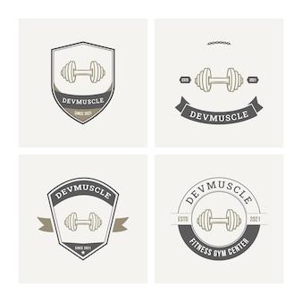 Collezione di badge logo fitness palestra
