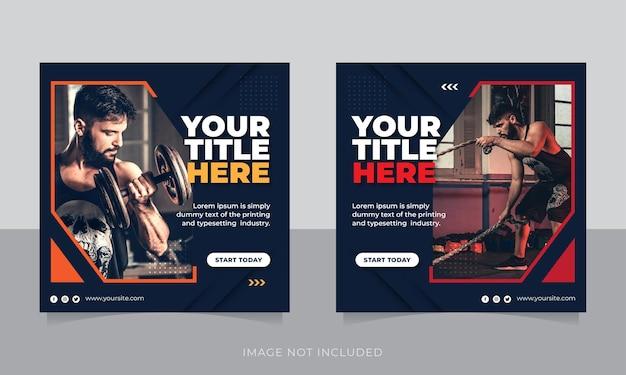 Palestra e fitness social media post banner o modello di volantino quadrato