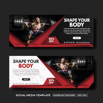 Modello di post o banner sui social media per palestra e fitness vettore premium