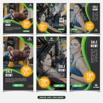 Palestra fitness social media post and stories template