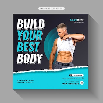 Palestra fitness social media post template design