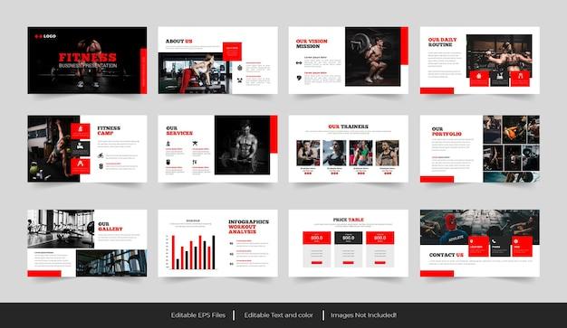 Presentazione della palestra e dell'istruttore di fitness o presentazione della palestra tamplate design
