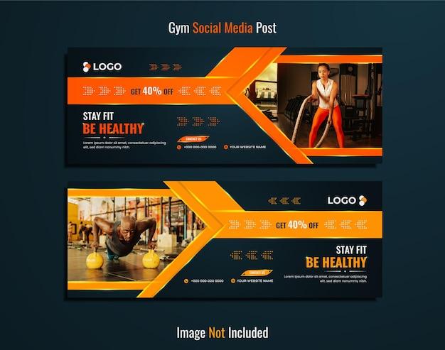 Design di banner web palestra e fitness su uno sfondo sfumato di colore ciano profondo.