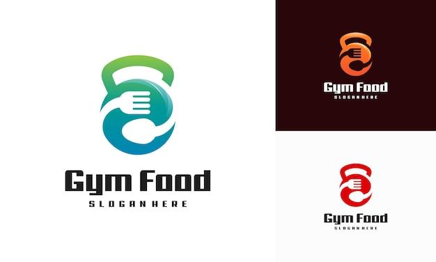 Concetto di disegni di logo di cibo da palestra, vettore di logo di nutrizione di palestra