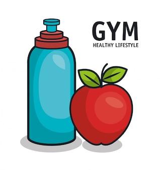Palestra stile di vita sano bottiglia d'acqua e mela design