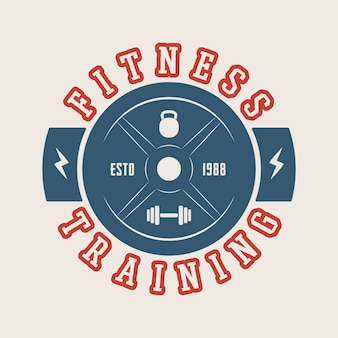 Logo palestra, badge, etichetta, marchio in stile vintage. illustrazione vettoriale. arte grafica