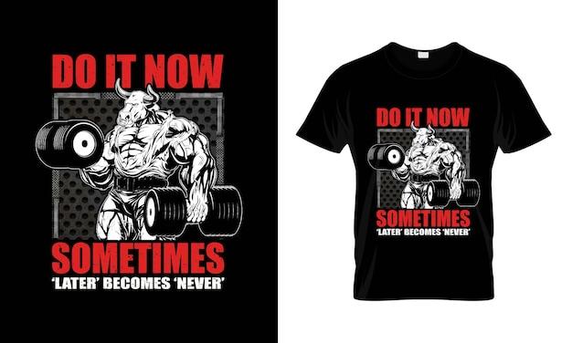 Citazione motivazionale palestra con effetto grunge disegno vettoriale per t-shirt