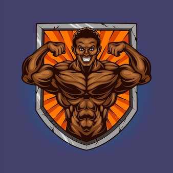 Palestra muscolare fitness scudo illustrazioni vettoriali per il tuo lavoro logo, t-shirt di merce mascotte, adesivi e disegni di etichette, poster, biglietti di auguri pubblicitari società o marchi.