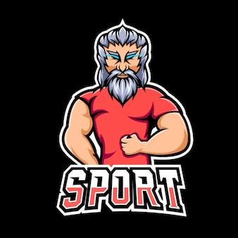 Logo della mascotte del gioco di sport e sport in palestra