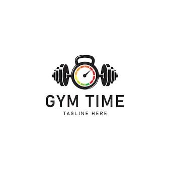 Vettore di progettazione del modello di logo di fitness e tempo in palestra