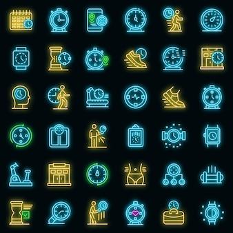 Set di icone di tempo di palestra. delineare l'insieme delle icone vettoriali del tempo in palestra a colori al neon su nero