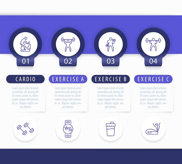 Allenamento in palestra, allenamento, modello di infografica in 4 passaggi, con icone di fitness di linea