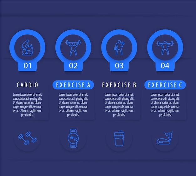 Allenamento in palestra e allenamento, modello di infografica in 4 passaggi, con icone di fitness di linea