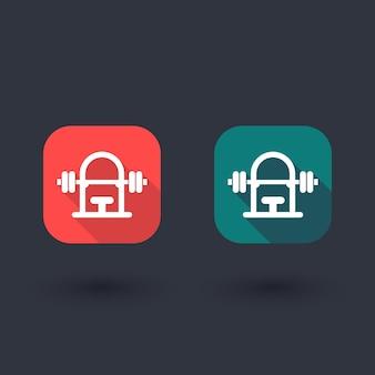 Panca pesi palestra con icona bilanciere, segno vettoriale panca palestra, icona piatta con ombra lunga, illustrazione vettoriale